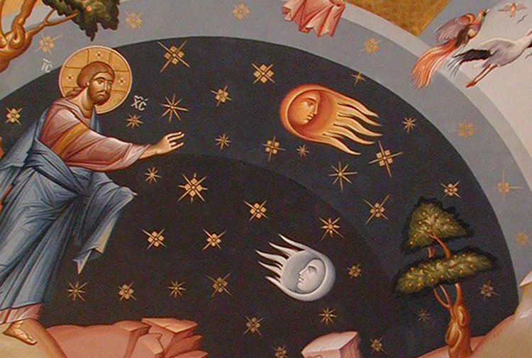 Fresco of Christ creating the universe