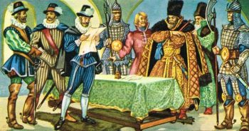 Illustration of the signing of the Treaty of Stolbova