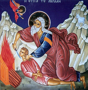 Greek Orthodox icon of Abraham preparing to sacrifice his son Isaac.