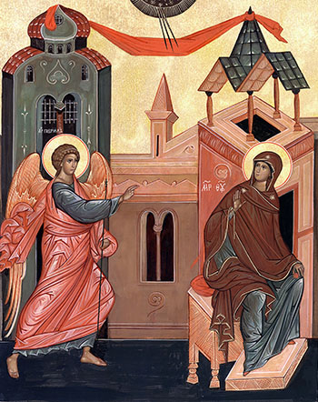 Russian Orthodox icon of the Annunciation of the Most Holy Theotokos