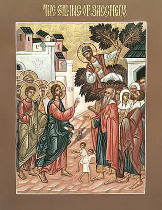 Orthodox icon of Christ calling Zacchaeus