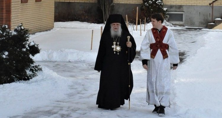 Bishop Luke Walks to Cathedral for Divine Liturgy, accompanied by Subdeacon Nicholas Williams