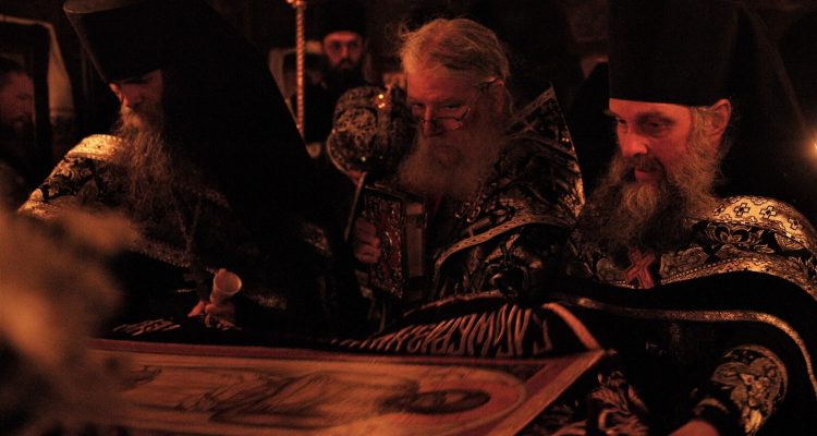 Bishop Luke with hieromonks at the shroud on Holy and Great Saturday