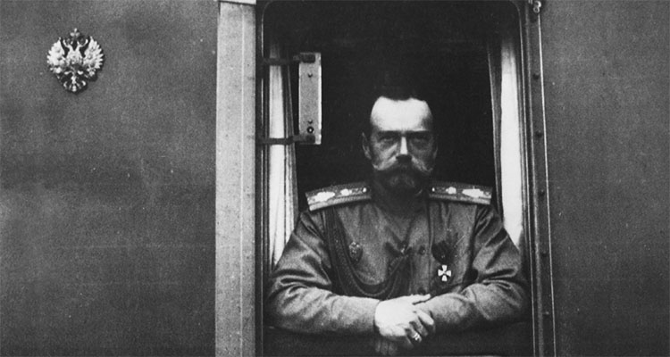 Nicholas II in a window of the Imperial train
