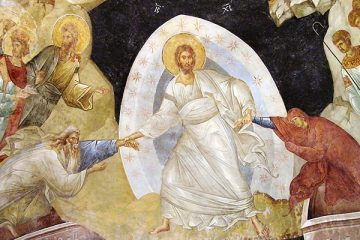 Fresco from Kariye Camii, Anastasis - showing Christ and the resurrection of Adam and Eve