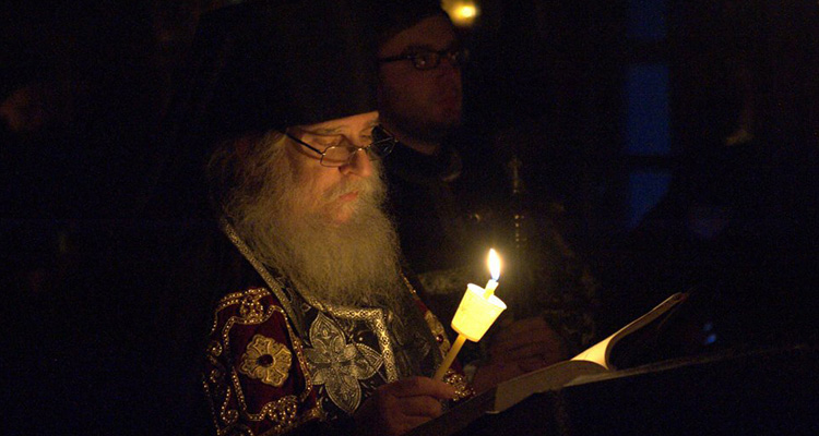 Archimandrite Luke reading the Great Canon of St Andrew of Crete during the first week of Great Lent.