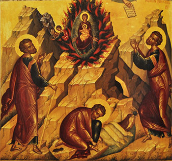 Orthodox icon of Moses at the Burning Bush.