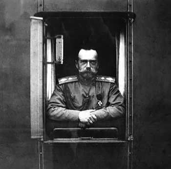 Tsar Nicholas II looking out of the window of the imperial train.