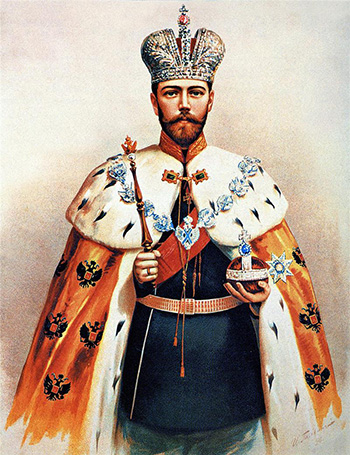 Illustraion of Tsar Nicholas II in full imperial regalia
