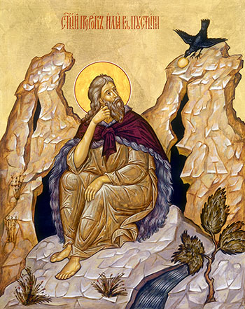 Russian icon of Prophet Elijah being fed by a Raven