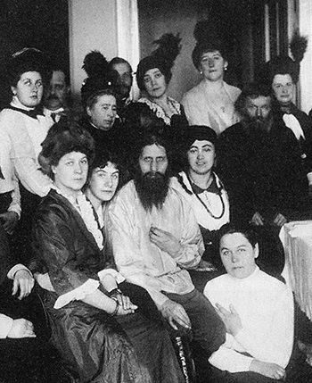 Rasputin among a mixed group of admirers.