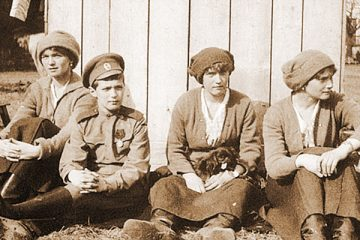 Nicholas II's children in garden under house arrest.